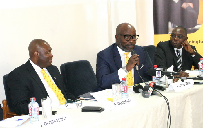 Mr Frank Adu Junior (2nd right), MD of Cal Bank, speaking at the function.