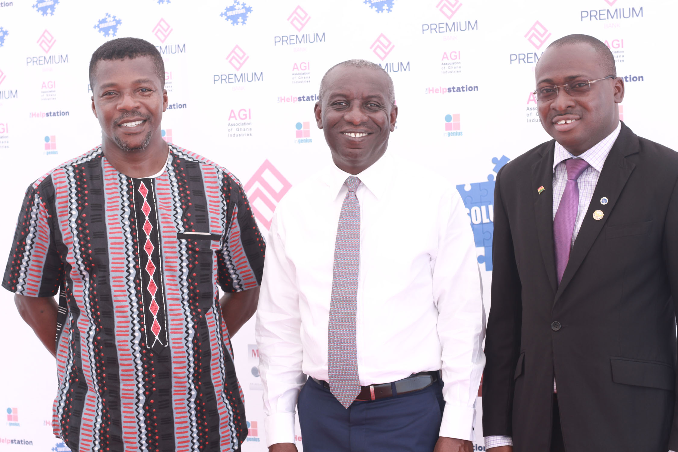 From left to right, Mr Kwame Boadi, MD of inGenius Africa, Mr Kwasi Tumi, MD of Premium Bank and Mr Tsonam Akeloo, Greater Accra Regional Chairman of the AGI.