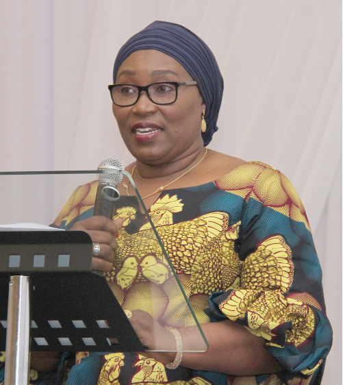 Mrs Jemilat Jawulaa Mahamah, President, Women's International Shipping & Trading Association (WISTA) delivering the welcome address at the ceremony in Accra.