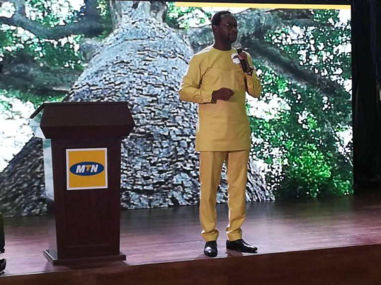 CEO of MTN Ghana,Selorm Adadevoh delivering a speech