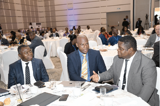 Professor Peter Quartey (right) interacting with Mr Ato Afful, Managing Director of the Graphic Communications Group Limited (middle) and Mr Alhassan Andani (left), Managing Director, Stanbic Bank Ghana at the Graphic Business/Stanbic Breakfast meeting