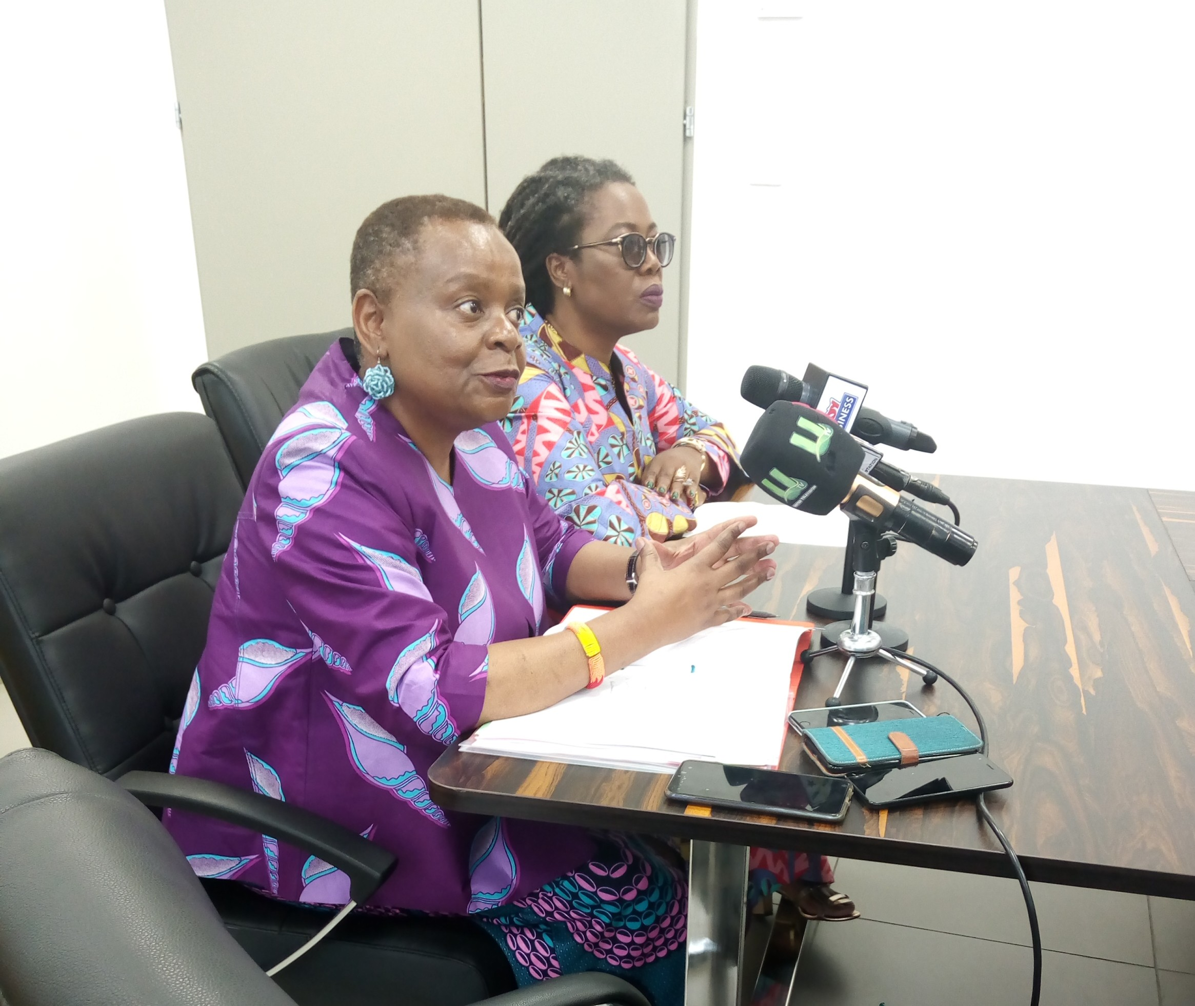 Ms Dorothy Ng'ambi Tembo, Acting Executive Director of the International Trade Centre (left) speaking during her visit to Ghana. Seated by her is Dr Afua Asabea Asare, CEO of GEPA