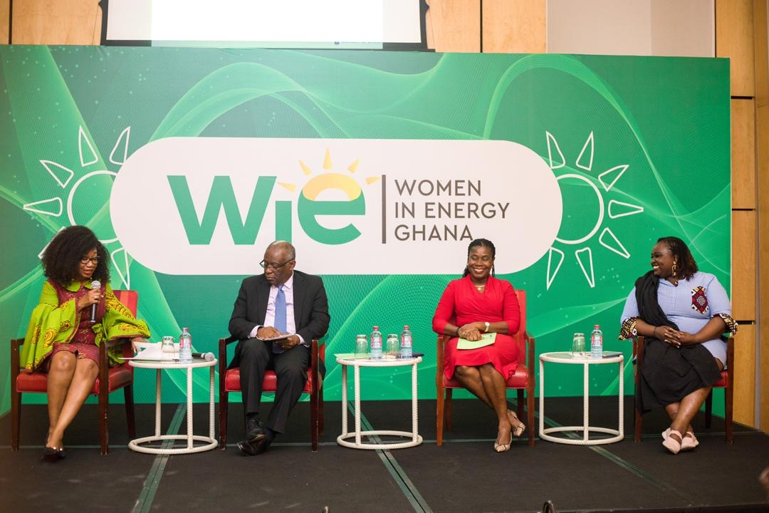 From left: Dr Julet Twumasi- Anokyi moderating the panel comprising Mr Charles Darku, Ms Essie Anno Sackey and Ms Jean Githinji at the launch of Women in Energy Ghana.