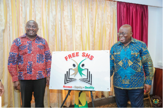 FLASHBACK: President Akufo-Addo and Vice President Mahamudu Bawumia in a pose for the cameras after they jointly unveiled the Free SHS Logo at the Flagstaff House last two years.