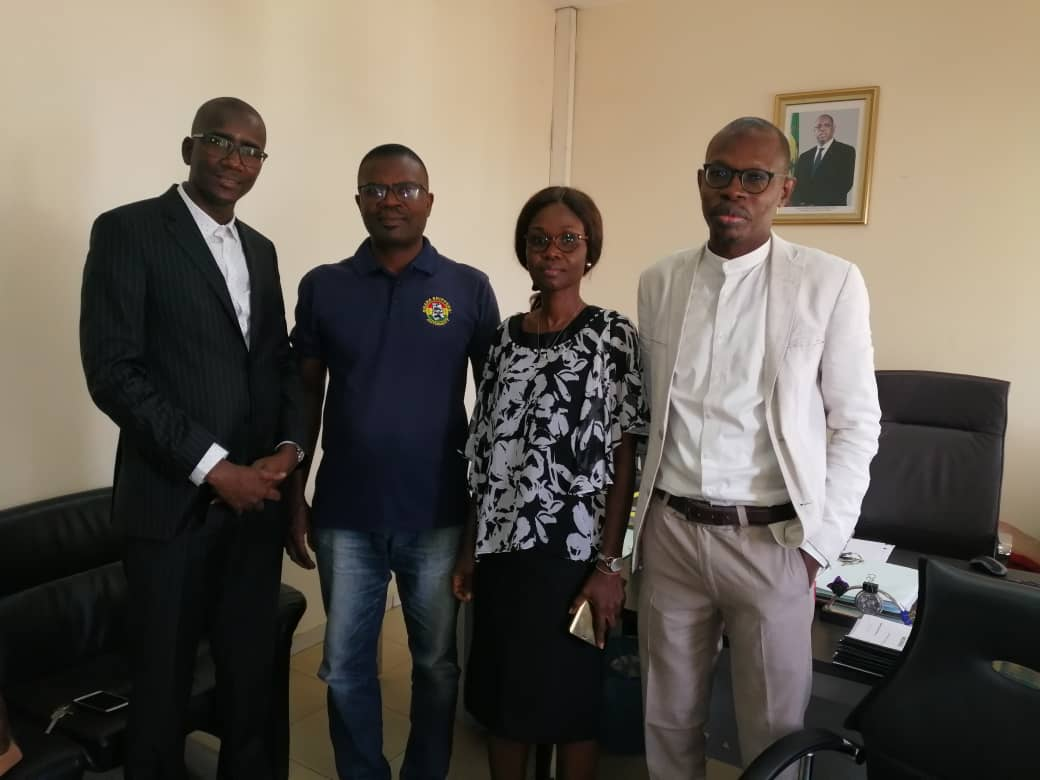 Mrs Agnes Asamoah Duku (2nd right), Mr Abdoulaye Sall (left), Mr Gabriel Bessah Shiador (2nd right), member Ghanaian delegation, and Mr Pepe Diagne (right) during the visit to COSEC head office in Dakar, Senegal.