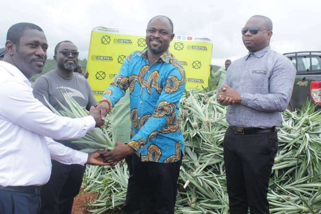 Mr Albert Kassim Diwura, Deputy Chief Executive Officer, HR and Administration, GEPA presenting a sucker to Mr Albert Amponsah, CEO of Albe Farms, while Mr Samuel Dentu, (right) Deputy Chief Executive, Operations and Finance, at GEPA and Mr Frederick Kobbyna Aquaah, Director of Operations, Ekumfi Fruits and Juices Factory, look on.